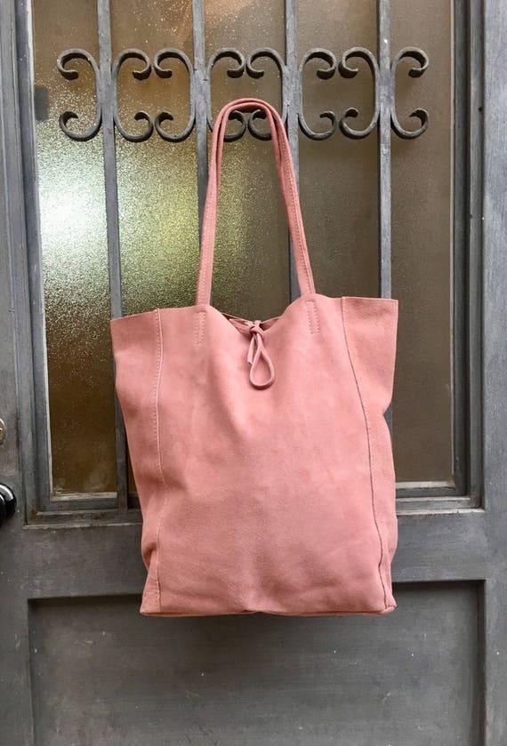 Large TOTE leather bag in PINK.  Soft natural suede genuine leather bag. Bohemian bag.  Light pink suede bag . Laptop  bag in soft pink.