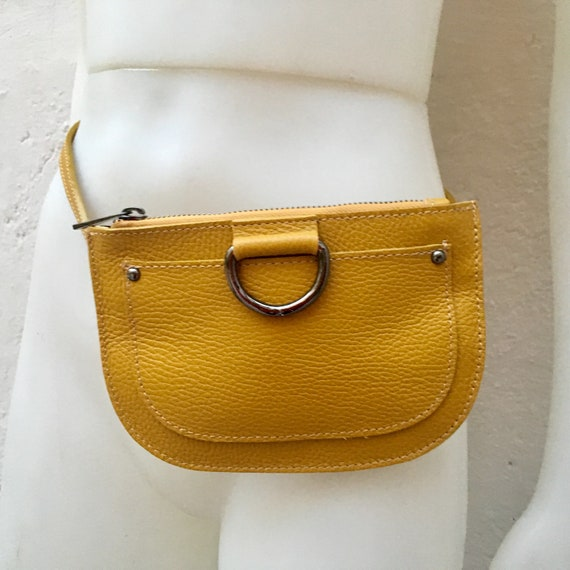 Small leather FANNY pack in  MUSTARD yellow .Cross body bag, bum pack bag in GENUINE  leather. Yellow bag with adjustable strap and zipper