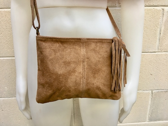 Suede leather bag in DARK Beige, taupe color .Cross body bag  in GENUINE  leather. Small brown leather bag with adjustable strap and zipper.