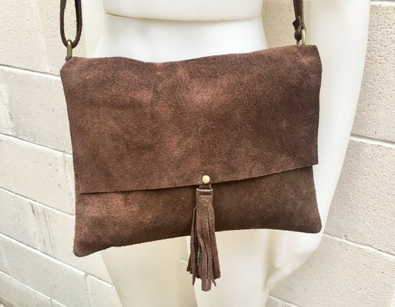 Cross body bag. BOHO suede leather bag in CHOCOLATE BROWN.  Soft genuine suede leather. Crossover, messenger bag in brown suede.