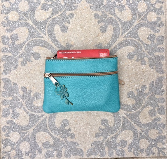 Coin purse with zippers in turquoise BLUE. Genuine leather. Small wallet for credit cards, coins and notes. Soft BLUE leather.