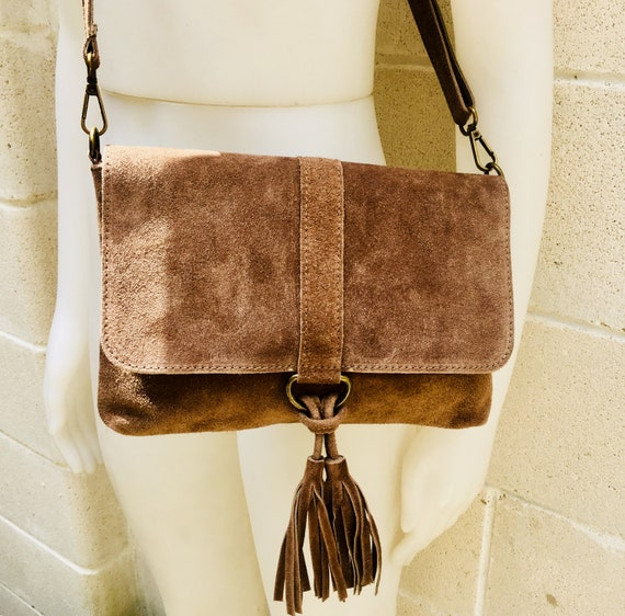 Cross body bag. BOHO leather bag in DARK BEIGE. Soft genuine suede leather. Crossover, messenger bag in suede. Festival,small bags
