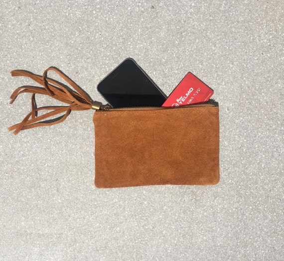 Small genuine suede leather BAG in camel BROWN, iPhone case, Cosmetic bag, Make up bag,Purse in BROWN, soft leather.