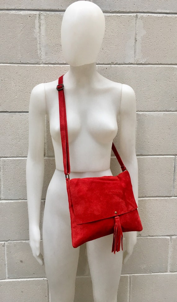 Cross body bag. BOHO suede leather bag in  RED. Soft  genuine suede leather. Crossover, messenger bag in suede.Soft.