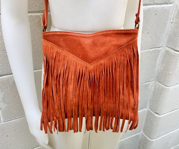 Cross body bag. BOHO suede leather bag in burnt ORANGE with FRINGES. Messenger bag in soft  genuine suede leather.Orange crossbody hippy bag