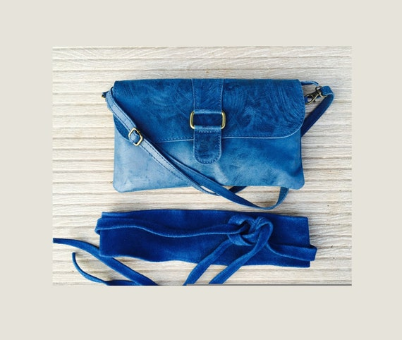 Enveloppe leather bag and matching suede obi belt in COBALT BLUE Cross body or shoulder bag in leather and SUEDE belt