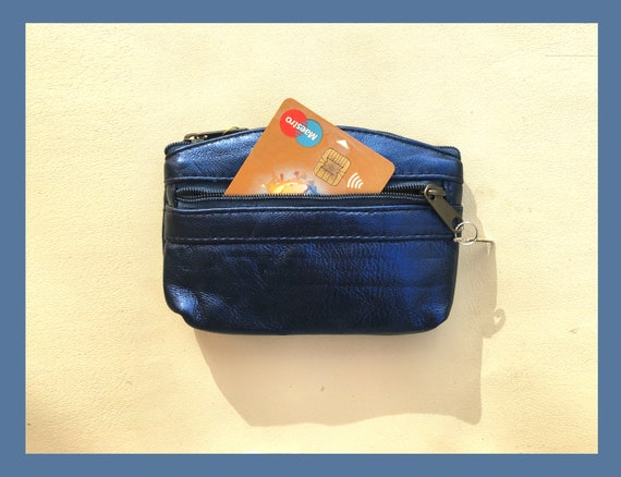Small purse in METALLIC dark blue, genuine leather, closed by 3 zippers. Fits credit cards, coins, bills. Shiny NAVY  leather wallet.
