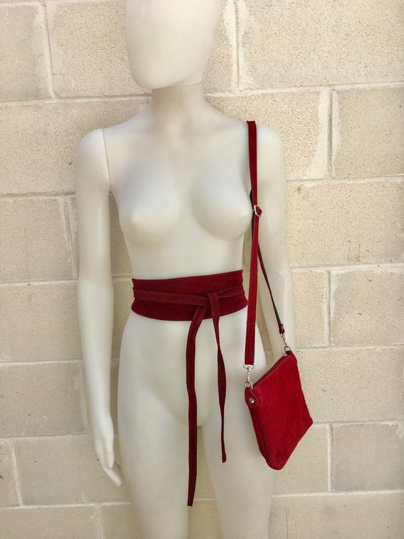 Small suede  bag in BURGUNDY, dark red, with matching belt. Cross body bag and OBI belt set in suede leather. Adjustable strap and zipper