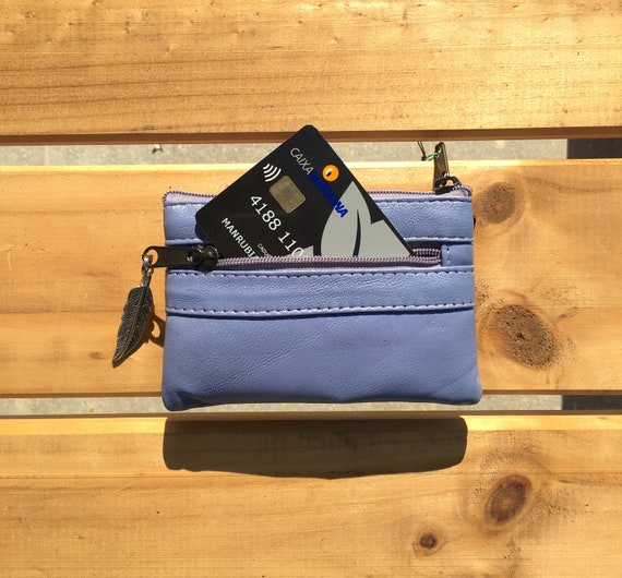 Small purse in PURPLE, genuine leather, closed by 3 zippers. Fits creditcards, coins, bills. Soft LAVENDER leather wallet.