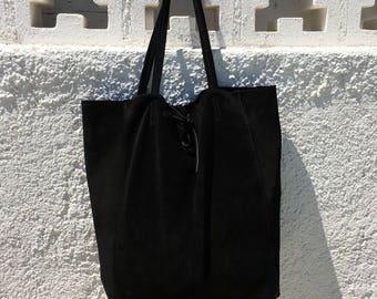 Large black suede bag. Genuine leather black tote. Large boho suede bag in Black. Bag for laptop, books, tablet