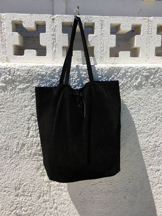 Large black suede bag. Genuine leather black tote. Large boho suede bag in Black. Ibiza bags, Coachella bags