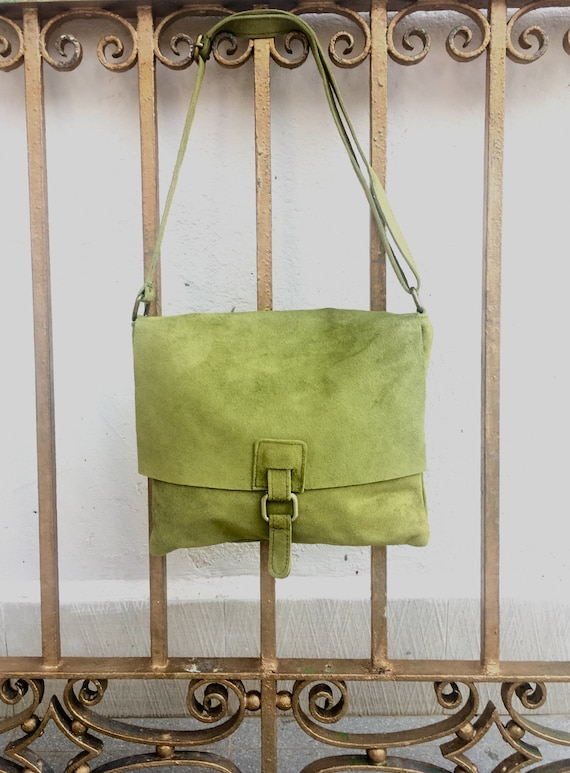 BOHO  suede leather bag in  MOSS GREEN. Soft natural suede, genuine  leather bag. Crossover, messenger bag in suede. Festival,  Ibiza bags