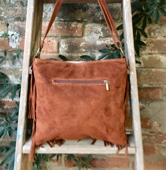 Cross body bag. BOHO suede leather bag in dark CAMEL brown with FRINGES. Larger model.  Messenger bag in genuine suede. Crossbody hippy bag