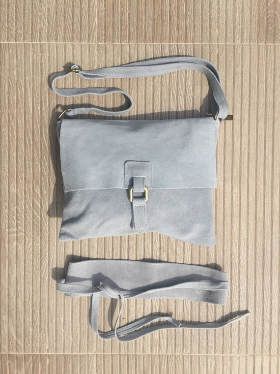 Boho genuine suede leather set of bag and belt.Messenger bag in Light grey Soft natural leather bag. Genuine suede set of bag and belt.