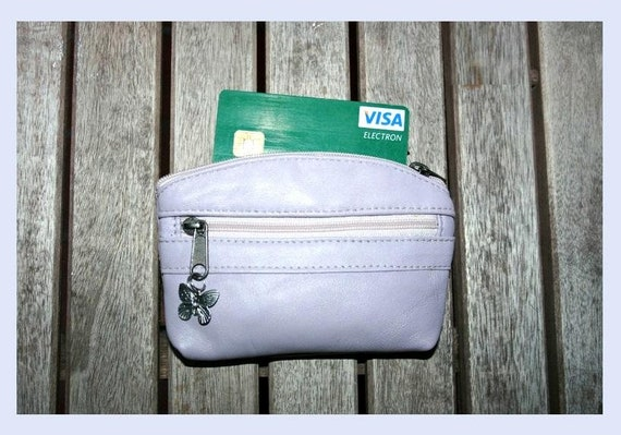 Small purse in LIGHT PURPLE, genuine leather, closed by 3 zippers. Fits credit cards, coins, bills. LAVENDER, lilac leather wallet.