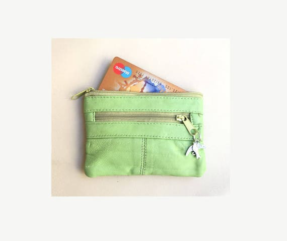 Genuine leather, small coin and card purse with zipers in light green. Green bag, bright color genuine leather purse.