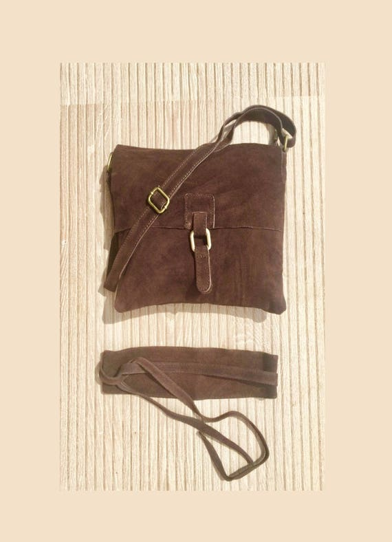 BOHO  suede leather bag in dark BROWN with matching OBI waistbelt. Soft genuine suede leather bag and belt in dark brown