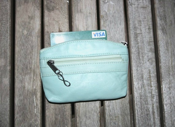 Small purse in MINT green, genuine leather, closed by 3 zippers. Fits creditcards, coins, bills. Soft light green  leather wallet.