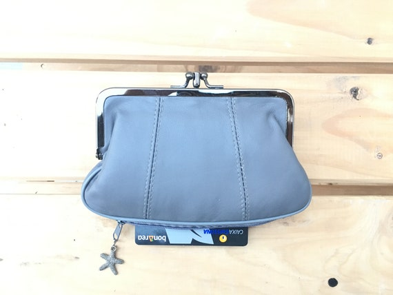 Genuine leather clip purse In GRAY. Retro leather purse, clip purse in soft  grey leather.  Gray wallet, metallic clasp.