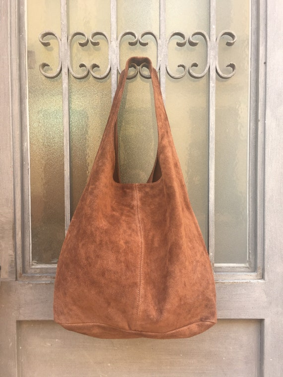Slouch bag.Large TOTE leather bag in  BROWN. Genuine leather bag. Tobacco laptop bags in suede. Large suede leather bag.  BROWN suede bag.