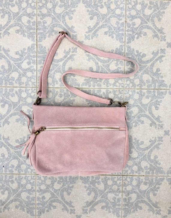 BOHO  suede leather bag in PINK. Cross body bag, messenger bag made with soft natural leather  with suede tassels