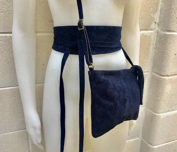 BOHO suede leather bag and obi  belt in NAVY blue. Soft natural leather bag. Genuine suede set of bag and belt set
