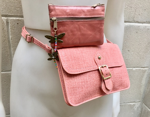 Small cross body bag - fanny pack  in PINK  with genuine leather coin purse.Enveloppe bag with adjustable strap and flap.Bag and purse set