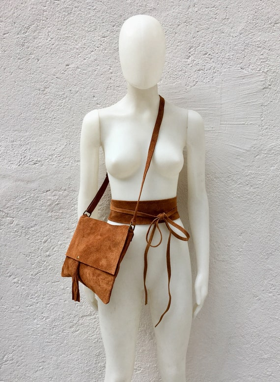 BOHO suede leather bag and obi belt in CAMEL BROWN. Soft natural leather bag. Genuine suede set of bag and belt.