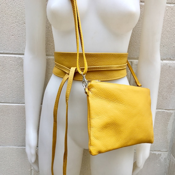 Small leather bag in MUSTARD  YELLOW  with matching belt.Cross body bag, shoulder bag or wristlet in GENUINE  leather. Yellow bag and belt