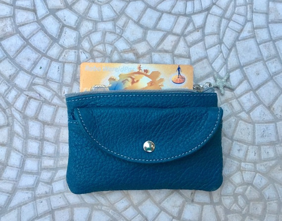 TEAL BLUE coin  purse in  genuine leather with zippers and pocket. Fits credit cards, coins, bills. Tan or tobacco brown leather wallet