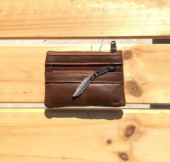 Small purse in BROWN, genuine leather, closed by 3 zippers. Fits creditcards, coins, bills. Soft TOBACCO BROWN leather wallet.