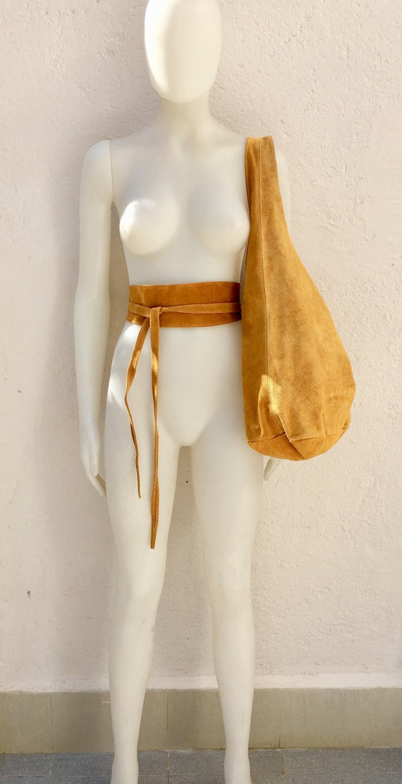 Large  SLOUCH leather bag in MUSTARD yellow with matching OBI belt . Soft natural suede leather bag. Bohemian bag. Yellow tote suede bag.