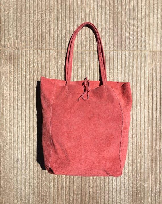 TOTE bag in Coral RED genuine suede leather. Large boho bag in soft natural suede. Shoulder bag, boho bag, Ibiza style large leather bag