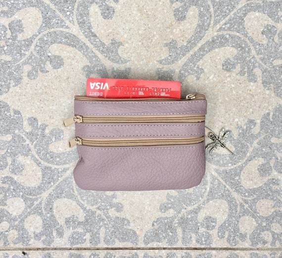 purse with zippers in LIGHT PURPLE. Coin Genuine leather. Small wallet for credit cards, coins and notes. Soft lavender leather.