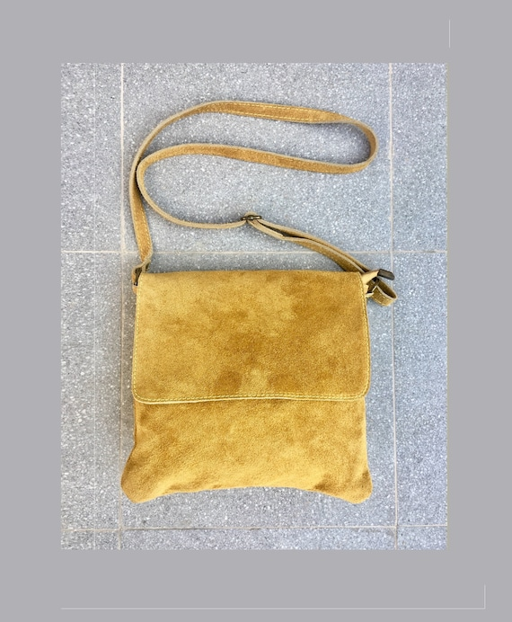 Cross body bag with flap. BOHO suede leather bag in MUSTARD YELLOW. Soft genuine suede leather. Crossover, messenger bag in suede. Small bag