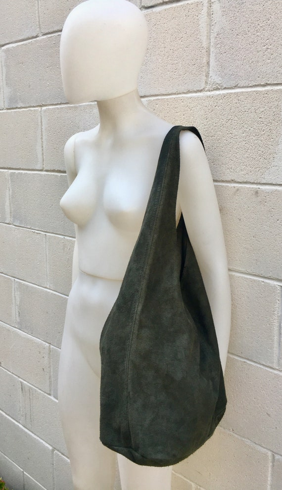 Large TOTE leather bag in GREEN. Soft natural suede genuine leather bag. Bohemian bag. GREEN suede bag.
