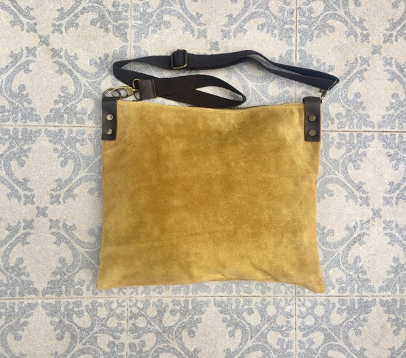 Cross body bag. BOHO suede leather bag in mustard yellow. Messenger bag in soft  genuine suede leather. Crossbody bag in mustard suede.