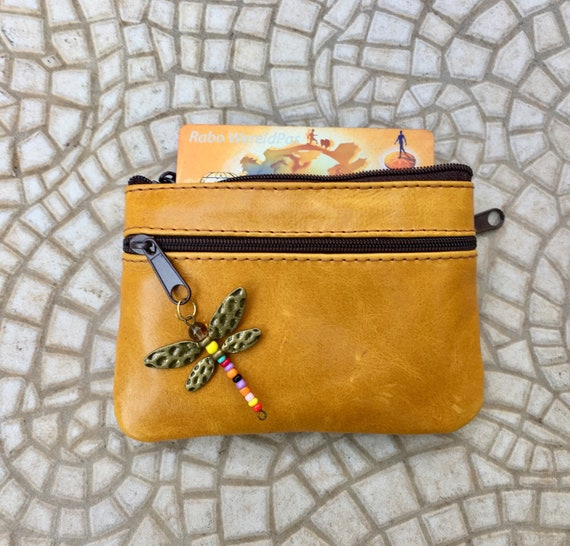 Small purse in MUSTARD YELLOW, genuine leather, closed by 3 brown zippers. Fits creditcards, coins, bills. YELLOW leather wallet.