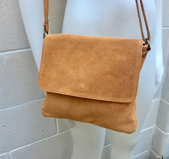 Cross body bag. BOHO suede leather bag in camel or TOBACCO BROWN. Soft genuine suede leather. Crossover, messenger bag.Tablet or book bag