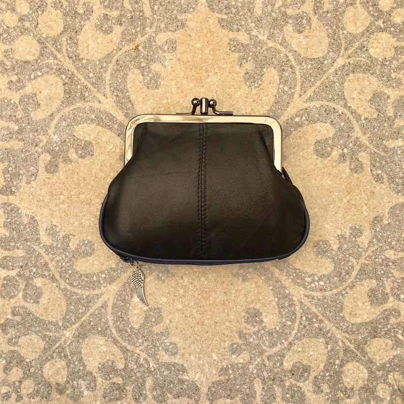 Kiss lock  purse in DARK  BROWN bills and a separate zipper for cards genuine leather BROWN purse Small vintage style wallet for coins