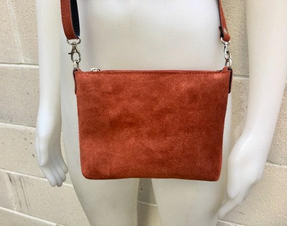 Suede leather bag in BURNT ORANGE. Cross body bag, shoulder bag in GENUINE  leather. Small leather bag in  dark orange-brown color.