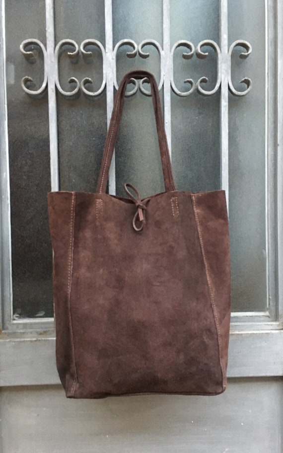 Large TOTE leather bag in dark BROWN.Soft natural suede genuine leather bag. Boho bag. CHOCOLATE brown suede bag. Laptop  bag in suede.