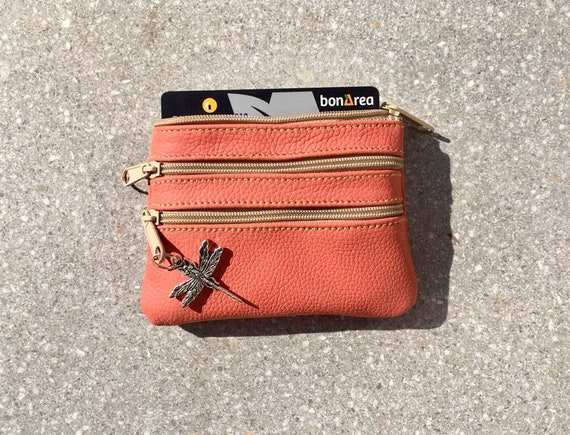 Small purse in SALMON pink. Genuine leather, 3 zippers. Fits credit cards, coins, bills. Light CORAL color leather wallet.