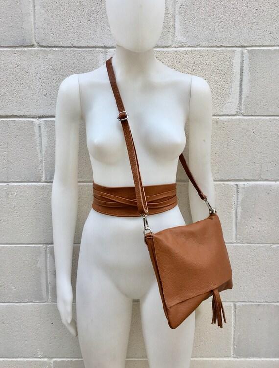 BOHO grain leather bag and obi belt in CAMEL BROWN. Soft natural leather bag. Genuine grain leather set of bag and belt.