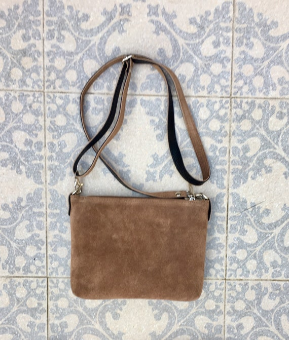 Suede leather bag in  DARK BEIGE. Cross body bag, shoulder bag in GENUINE  leather. Small leather bag with adjustable strap and zipper.