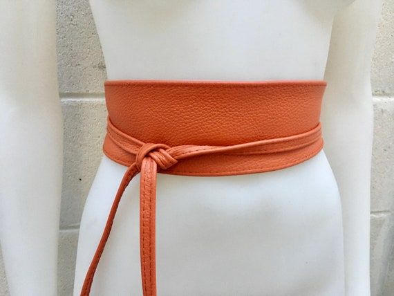 ORANGE belt. Burnt orange sash, bridesmaid  belts in orange leather, coachella belts. Boho belts in genuine leather,, grain leather belt