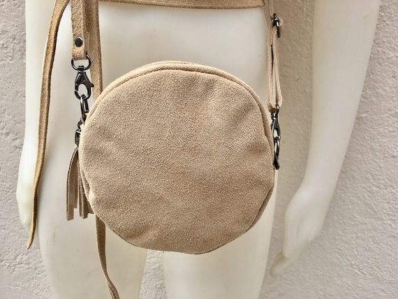 Round cross body bag, small suede bag in light BEIGE.  Adjustable strap + zipper. Small shoulder or cross over bag. Boho, festival bag.