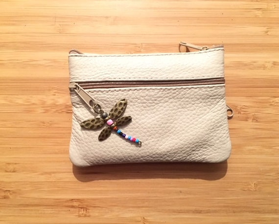 Small purse in LIGHT BEIGE, genuine leather, 4 zippers. Fits credit cards, coins, bills. Creamy WHITE leather wallet.