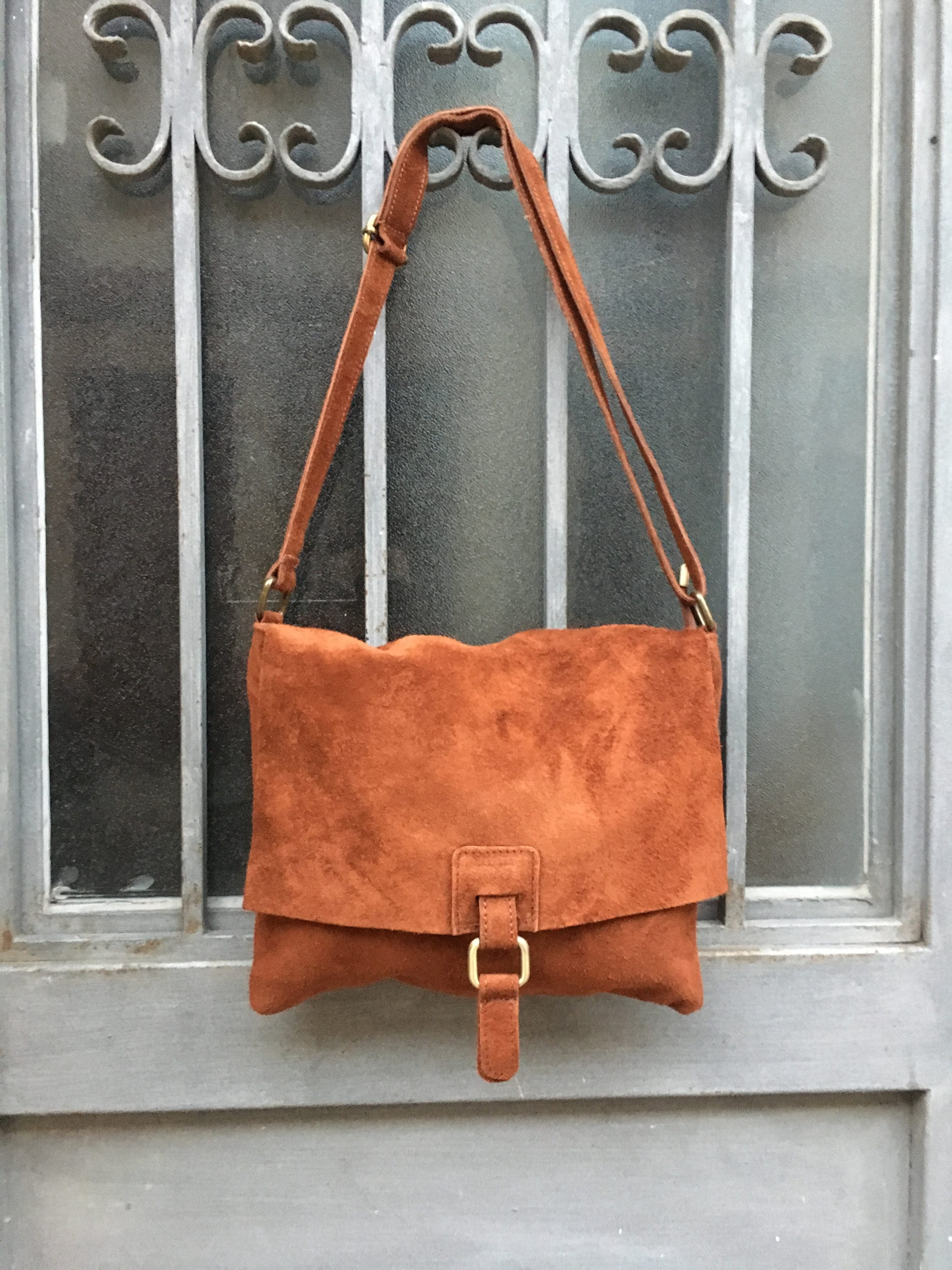 fc0b9b54365 BOHO suede leather bag in CAMEL BROWN. Soft patent genuine ...