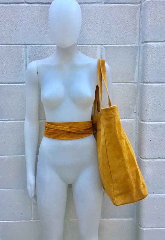 TOTE leather bag in mustard YELLOW with matching suede waistbelt. Genuine suede leather bag. Boho bag. Bag for laptop, tablet, books...